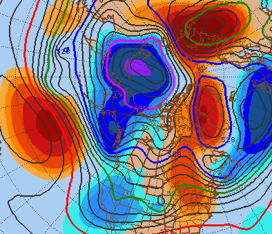 72 Hour GEFS Mean 500mb Height and Anomalies