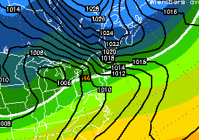 Euro Ensemble Mean MSLP/500mb Heights 00z Monday