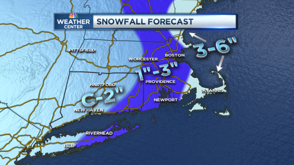 WVIT Forecast Snow SNE to CT