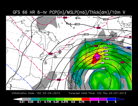 This afternoon's GFS (American) model shows a big snowstorm with near blizzard conditions - other models are much more tame.