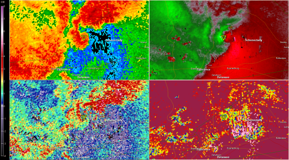 2237 UTC KENX (Clockwise from top left 0.5 BR, SRV, CC, ZDR )