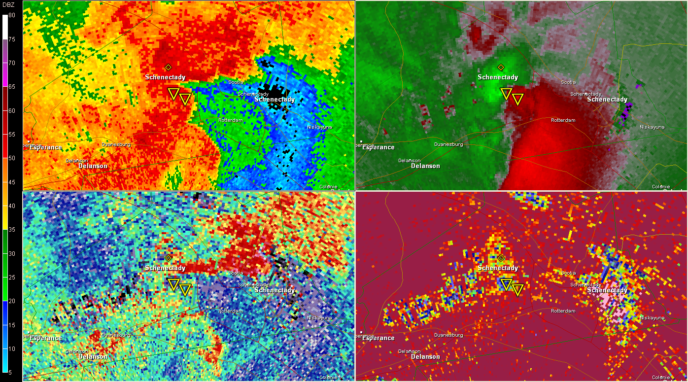 2257 UTC KENX (Clockwise from top left 0.5 BR, SRV, CC, ZDR )