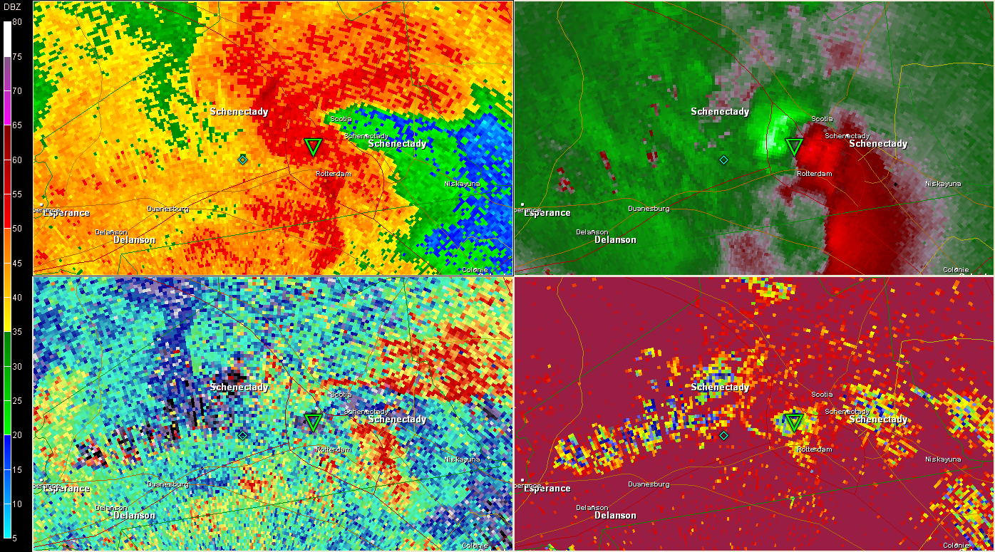 2302 UTC KENX (Clockwise from top left 0.5 BR, SRV, CC, ZDR )