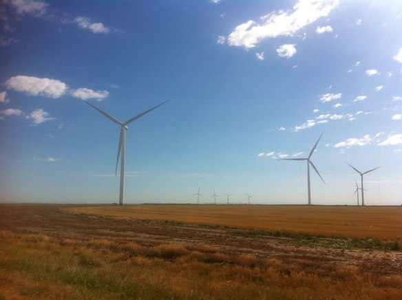 One of many wind turbine farms. This is near Cimarron, KS.