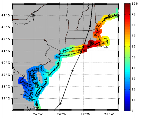 Hurricane Carol reanalyzed track and wind swath (Landsea et al.)